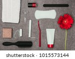 top view of arrangement of... | Shutterstock . vector #1015573144