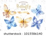 set of watercolor butterfly.... | Shutterstock . vector #1015586140
