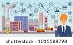 modern digital factory 4.0.... | Shutterstock .eps vector #1015588798