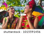 Stock photo brazilian carnival women wearing carnival costumes in the city of olinda pernambuco brazil 1015591456