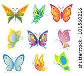 Stock vector vector set of a beautiful butterfly 101560216