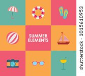summer time elements collection | Shutterstock .eps vector #1015610953