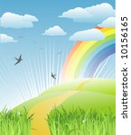 grass, birds and rainbow landscape / vector - stock vector