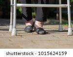 elderly woman swollen feet use... | Shutterstock . vector #1015624159