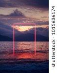 geometric red neon glowing... | Shutterstock . vector #1015636174