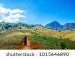 the tribe man is walking to the ... | Shutterstock . vector #1015646890