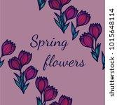 crocus flowers. floral seamless ... | Shutterstock .eps vector #1015648114