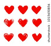 set of hand drawn hearts.... | Shutterstock .eps vector #1015650856