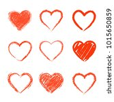 set of hand drawn hearts.... | Shutterstock .eps vector #1015650859