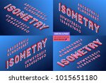 isometric alphabet 4 in 1. 3d... | Shutterstock .eps vector #1015651180