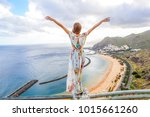 traveler girl enjoying the... | Shutterstock . vector #1015661260