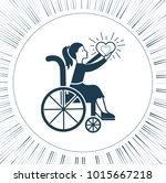 icon disabled girl with a... | Shutterstock . vector #1015667218