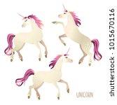beautiful watercolor unicorns... | Shutterstock .eps vector #1015670116