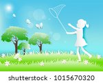 girl running and catching... | Shutterstock .eps vector #1015670320
