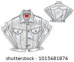 jeans cape jacket   Shutterstock .eps vector #1015681876