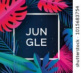 trendy jungle banner. paper cut ... | Shutterstock .eps vector #1015683754
