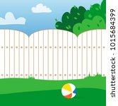 rubber ball and grass field.... | Shutterstock . vector #1015684399