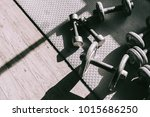 dumbbell at fitness gym to... | Shutterstock . vector #1015686250