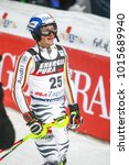 Small photo of ZAGREB, CROATIA - JANUARY 4, 2018 : Strasser Linus of Ger competes during the Audi FIS Alpine Ski World Cup Mens Slalom, Snow Queen Trophy 2018 in Zagreb, Croatia.