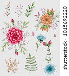 floral and herb elements   Shutterstock . vector #1015692220