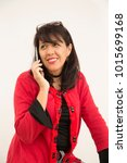 lady talking on the phone with... | Shutterstock . vector #1015699168