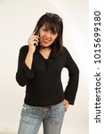 lady talking on the phone with... | Shutterstock . vector #1015699180
