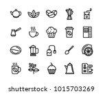 coffee and tea set vector lines ... | Shutterstock .eps vector #1015703269