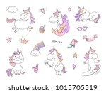 cute unicorn characters with...   Shutterstock .eps vector #1015705519