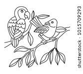cute bird line art for children ...   Shutterstock .eps vector #1015709293