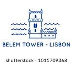 belem tower of lisbon   thin... | Shutterstock .eps vector #1015709368