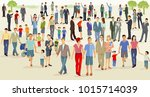 crowd on a large square ... | Shutterstock . vector #1015714039