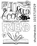 good book is your friend for... | Shutterstock .eps vector #1015715929