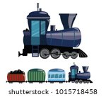 cartoon train. vector... | Shutterstock .eps vector #1015718458