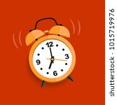 orange alarm clock isolated.... | Shutterstock .eps vector #1015719976