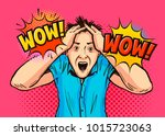 shocked man. wow lettering.... | Shutterstock .eps vector #1015723063