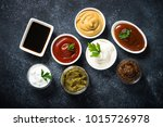 Big Set Of Sauces. Top View On...