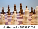 game of chess set out ready to... | Shutterstock . vector #1015750288