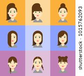 a set of female faces with... | Shutterstock .eps vector #1015762093