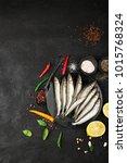 fresh sea fish smelt or... | Shutterstock . vector #1015768324