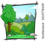 cartoon nature landscape with... | Shutterstock .eps vector #1015778149