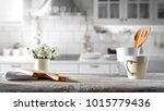 table background in kitchen and ... | Shutterstock . vector #1015779436