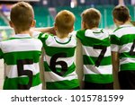group of kids indoor soccer... | Shutterstock . vector #1015781599