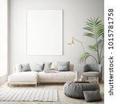 mock up poster frame in hipster ... | Shutterstock . vector #1015781758