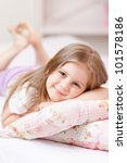 cute little girl in pajamas on... | Shutterstock . vector #101578186