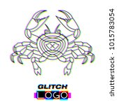 glitch effect crab logo. vector ... | Shutterstock .eps vector #1015783054