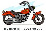 cartoon retro red motorbike... | Shutterstock .eps vector #1015785376