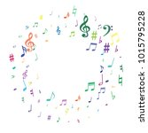 colorful flying musical notes... | Shutterstock .eps vector #1015795228