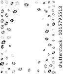 dog or cat paw black footprint  ... | Shutterstock .eps vector #1015795513