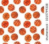 watercolor basketball set  hand ... | Shutterstock . vector #1015799338