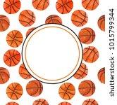 watercolor basketball template... | Shutterstock . vector #1015799344